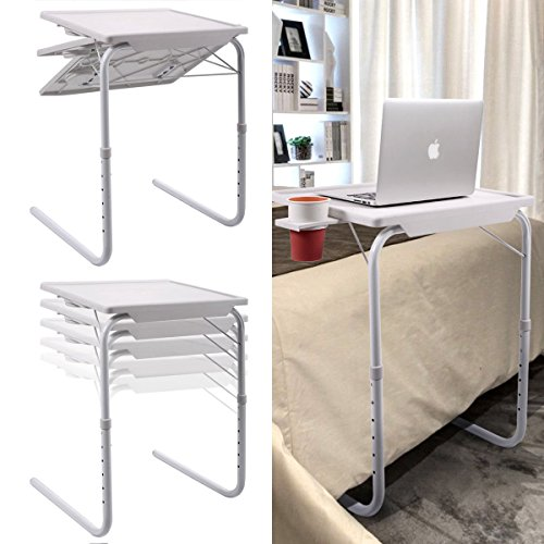 2 PC White Home Office Folding Smart Table Adjustable Foldable Desk W/Cup Tray by Foldable Desk