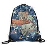 Unisex Drawstring Bags Squid Whale Sea Moon Art Portable Backpack Sport Daypack