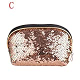 OUFENLI Mermaid Sequin Pencil Case Cosmetic Makeup Coin Pouch Storage Zipper Purse HOT,Large Cosmetics Case Make Up Cup Organizer Storage Case (Rose Gold)