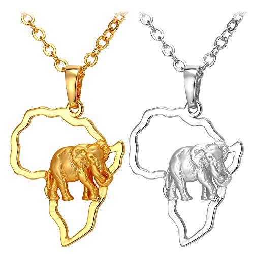 U7 Africa Map Pendant With Elephant Design 18KGP Stamp Gold Plated Chain African Style Ethiopian Jewelry Pendant Necklace