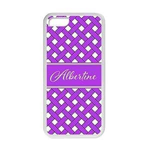 meilz aiaiLight purple Infinity lattice handwritten Monogram name design Costom Plastic Cover Case For iphone 5/5s By meilz aiai