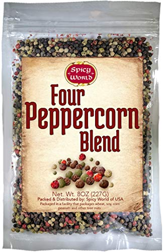 Four Peppercorn Rainbow Blend 8 oz - NON GMO, Steam Sterilized - Whole Black, Green, White & Pink Peppercorns - by Spicy World