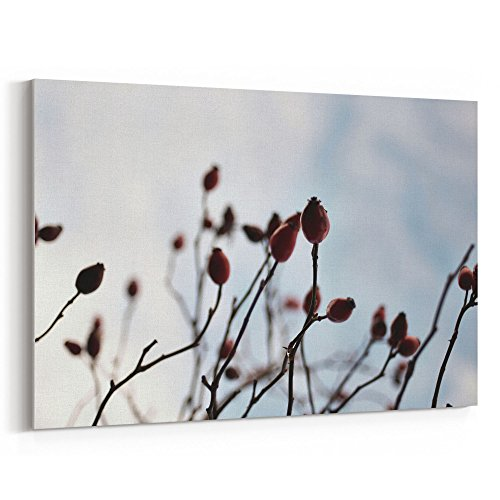 Westlake Art - Grey Winter - 12x18 Canvas Print Wall Art - Canvas Stretched Gallery Wrap Modern Picture Photography Artwork - Ready to Hang 12x18 Inch (88DA-E6977) (Berry Floral Wallpaper)
