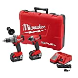 Cordless Drill Driver - Milwaukee 2897-22 M18 18-Volt Lithium-Ion Cordless Brushless Hammer Drill/Impact Driver Combo Kit (Latest Model)