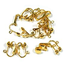 24 Gold Plated Clip on Earring Findings Standard Ball with Easy Open Loop for Easy Converting From Standard Ear Wires 12 Pair by Rockin Beads
