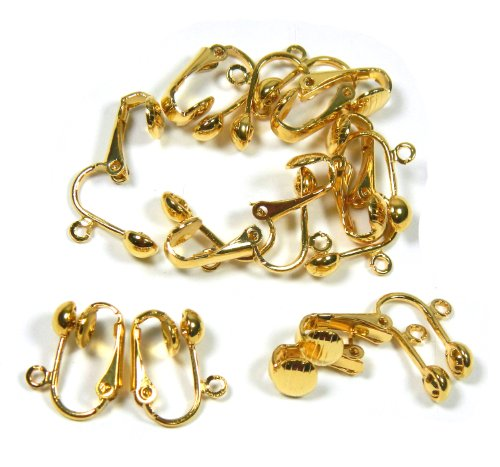 24 Gold Plated Clip on Earring Findings Standard Ball with Easy Open Loop for Easy Converting From Standard Ear Wires 12 Pair (Clip Earring Converter)