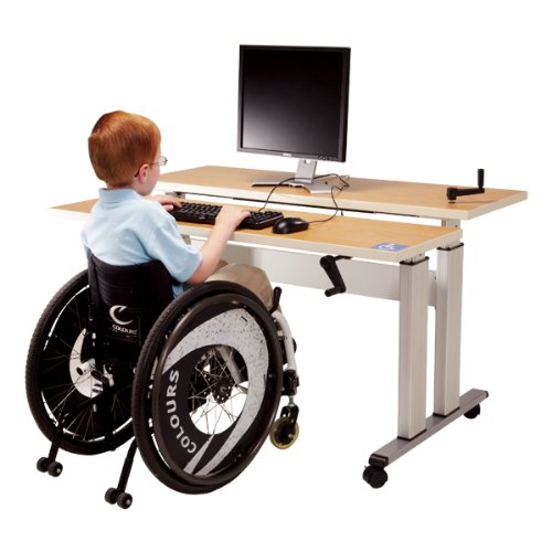 Adjustable-Height Bi-Level Computer Workstation - Hand Crank Adjustment