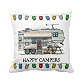 B Lyster Shop Decorative Throw Pillow Case Cushion Cover Cute RV Vintage Fifth Wheel Camper Travel Pillow Cases 18 x 18