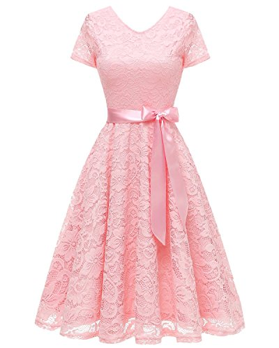 Bridesmay Women V Neck Floral Lace Cocktail Party Bridesmaid Dress with Sleeves Pink L (Party Cocktail Wear)