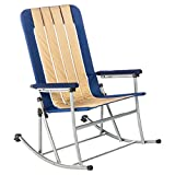 Rocking Chair, Outdoor Rocking Chairs, Folding Rocking Chair, Porch Rocking Chair, With Padded Seat, Back And Arms For Extra Comfort - 300 Pounds Weight Capacity