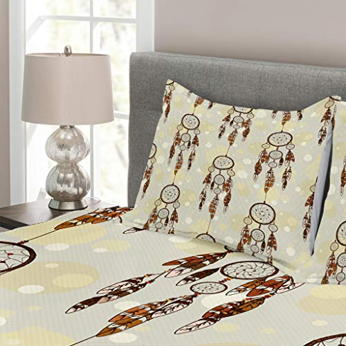 Lunarable Native American Bedspread Set King Size, Illustration of Tribal Style Boho Dreamcatchers in Retro Folk Art, Decorative Quilted 3 Piece Coverlet Set with 2 Pillow Shams, Cream and Chocolate by Lunarable (Image #1)