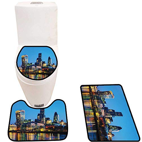 Non-Slip Bath Toilet Mat Fin cial District The City London with High Absorbency