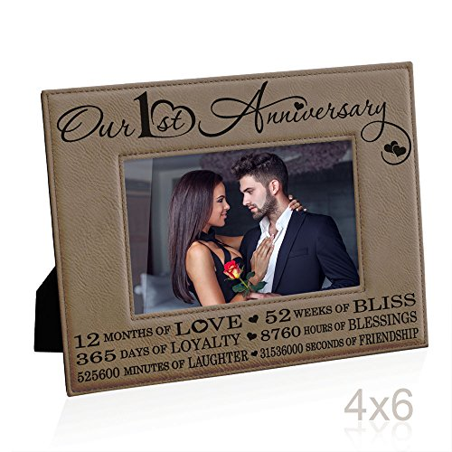 First Anniversary Gift - Kate Posh Our First (1st) Anniversary Engraved Leather Picture Frame - Gifts for Couple, Gifts for Him, Gift for Her, Paper, Photo Frame, First Wedding (4x6-Horizontal)