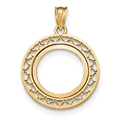 0.1 Ounce Eagle - 14k Yellow Gold Fancy Wire Prong 1/10 oz American Eagle Coin Bezel 16.5 mm x 1.3 mm