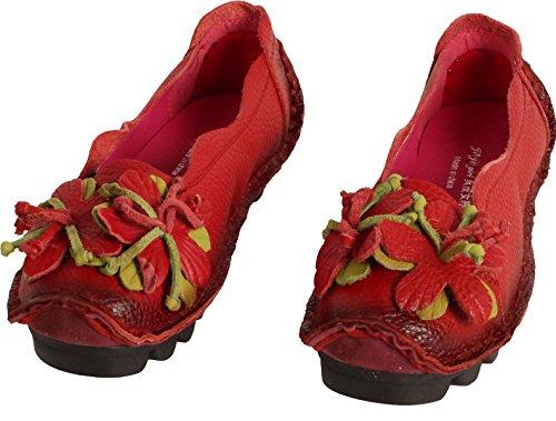 Chaussures rouge Femme Style2 Floral Cuir Escarpins Plate MatchLife Vintage 4zA7qqF