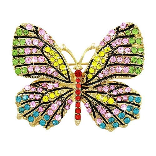 Beautiful Multi Color Crystal Rhinestones Pave Butterfly Pins and Brooches for Women in Assorted Colors - 7