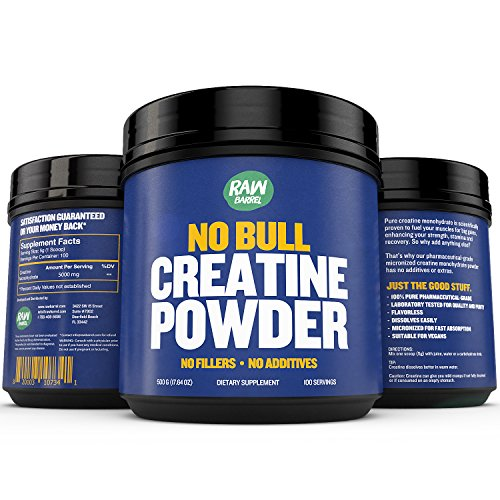 Raw Barrel's - Pure Creatine Monohydrate Powder - Unflavored and Micronized - 500g