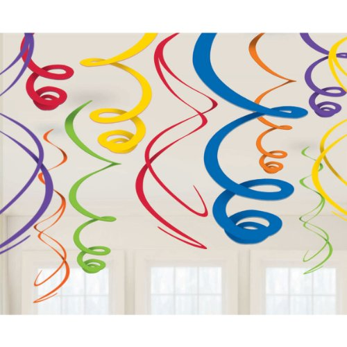 Amscan Vivid Rainbow Plastic Swirl Decorations, 22