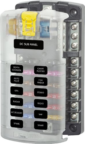 Blue Sea Systems 5025 ST Blade Fuse Block - 6 Circuits with Negative Bus and (Two Circuit System)