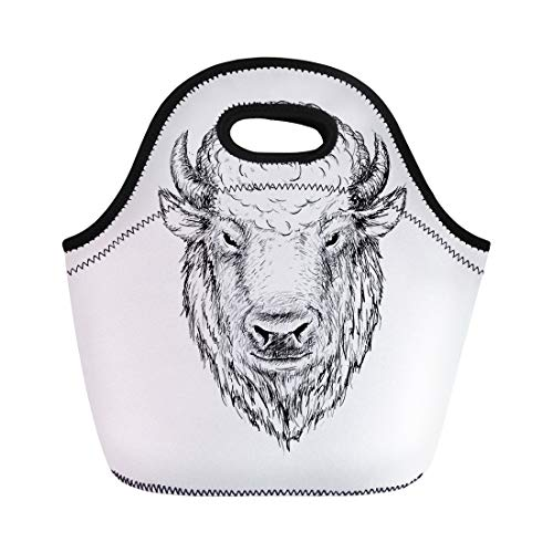 (Semtomn Neoprene Lunch Tote Bag Head of Buffalo Face Bison Bull Graphic Sketch Ink Reusable Cooler Bags Insulated Thermal Picnic Handbag for Travel,School,Outdoors, Work)