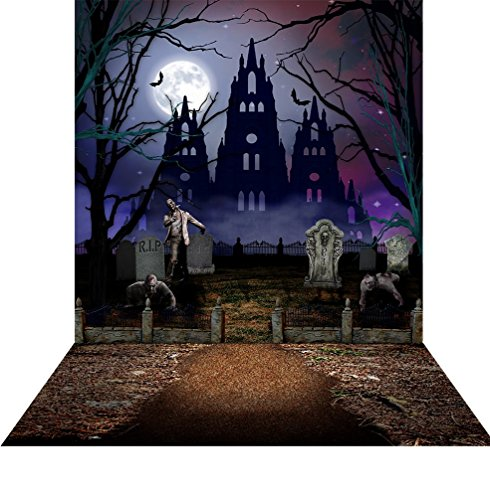 Photography Backdrop with Floor - Halloween Graveyard - 10x20 Ft. Seamless Fabric (Graveyard Halloween)