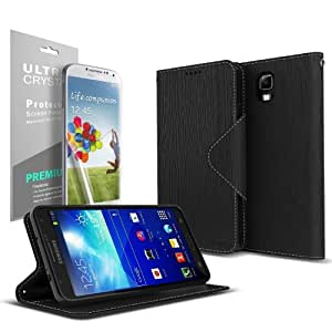 Black Samsung Galaxy Note 3 Wallet Case; Best Design with Coolest Premium [PU/Faux Leather] with Stand Feature and Magnetic Flap Closure; Slim Wallet Case Cover for Galaxy Note 3
