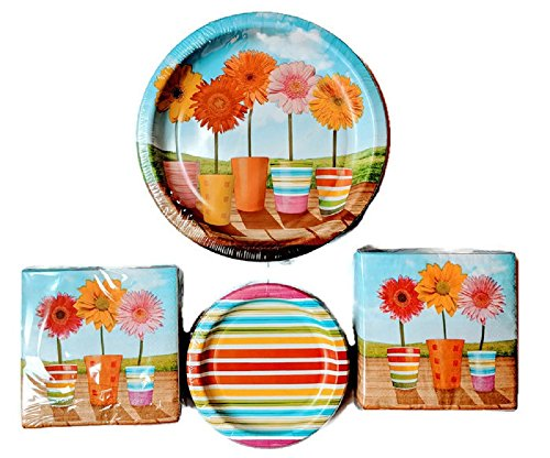 Celebrate Spring summer flowers themed Disposable Paper Plates and Napkins (50-6.75