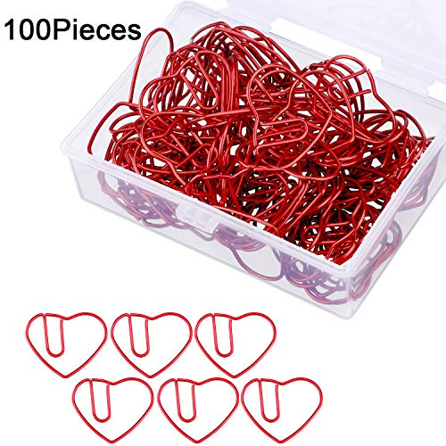 Jetec 100 Pieces 3 cm Love Heart Shaped Small Paper Clips Bookmark Clips for Office School Home (Red)