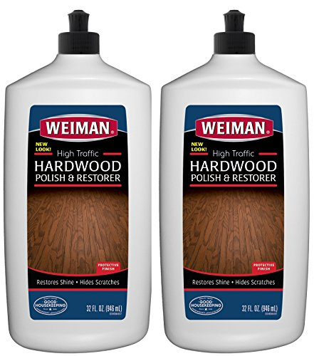 Weiman Wood Floor Polish and Restorer 32 Ounce - High-Traffic Hardwood Floor, Natural Shine, Removes Scratches, Leaves Protective Layer (2 Pack) ()