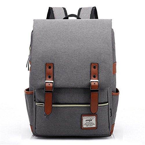 Vintage Canvas Backpack - Lightweight Canvas Laptop Outdoor Backpack, Travel Backpack with Laptop Sleeve, College School Bag with Side Pockets Canvas Rucksack for School Working Hiking (Retro (Canvas Laptop Backpack)