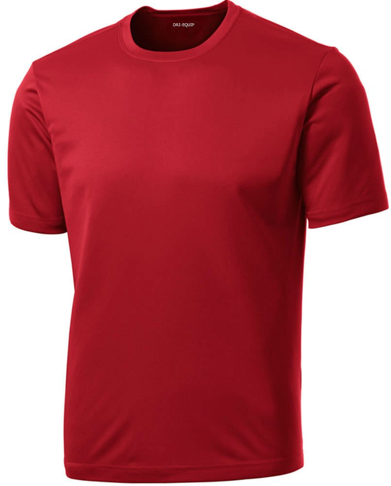 DRIEQUIP Men's Short Sleeve Moisture Wicking Athletic T-Shirt-Red-3XL by DRIEQUIP