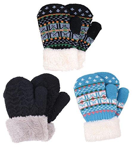 3 Pairs Boys Sherpa Lined Knit Mittens, Black+Fair Isle/Black+Fair (Kids Mitten)