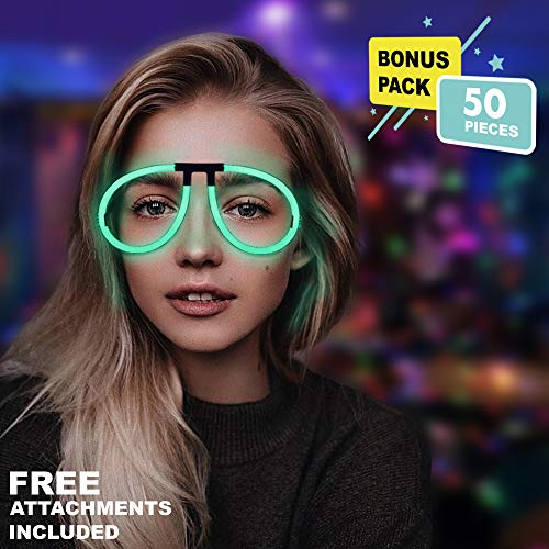 Lumistick Aviator Glow Eyeglasses | Light Up Neon Glow Eyewear | Illuminating Eye-catching Party Wear | Non-Toxic & Kids Safe Light Up Fluorescent Specs with Connectors