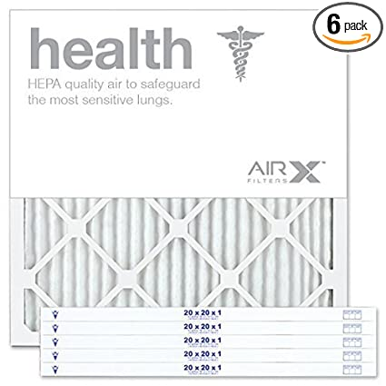 a5ef79fb976 AIRx HEALTH 20x20x1 MERV 13 Pleated Air Filter - Made in the USA - Box of 6  - - Amazon.com