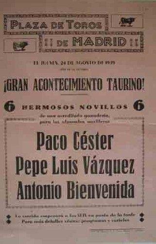 CARTEL PLAZA DE TOROS DE MADRID, 24 agosto 1939: Amazon.es ...