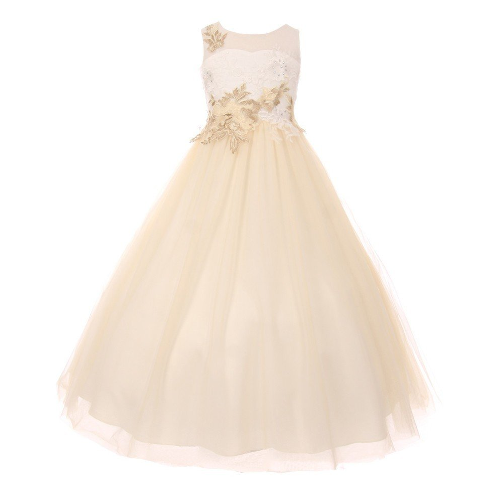 Cinderella Couture Big Girls Ivory Champagne AB Rhinestone Adorned Junior Bridesmaid Dress 16