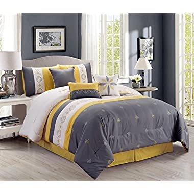 Retro 7 Piece Bedding Yellow / Grey / Off-White Embroidered (California) Cal King Comforter Set with accent pillows