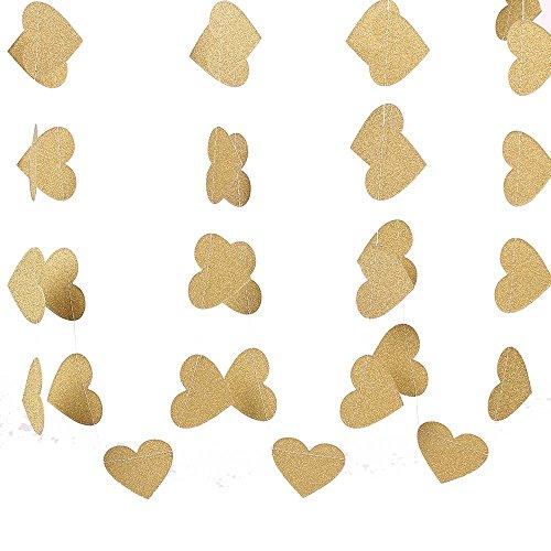 Garland Heart Wire (ZOOYOO Glitter Paper Heart Garland Dots Hanging Decor, Heart Event & Party Supplies,2'' high,9.8-feet Gold)