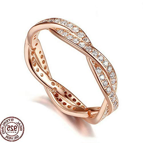 - Dokis 18K Rose Gold Fil Women Jewelry 925 Silver Wedding Engagement Ring Size 6-10   Model RNG - 17638   6