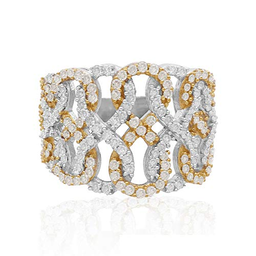 - 1.09 Cttw Round Cut White Natural Diamond Infinity Engagement Wedding Band Ring Two Tone Gold Over in Sterling Silver