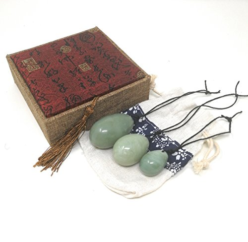 THY COLLECTIBLES Set of 3 Drilled Yoni Eggs Green Jade Stone Egg for Kegel Exercise Pelvic Floor Muscles Vaginal Exercise Ben Wa Ball Health Care For Women Beautiful Brocade Gift Box & Pouch