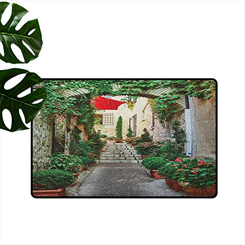 Mediterranean,Floor Mats Narrow Street with Flowers Rural Wine Town in Southern France Provinces Photo 36