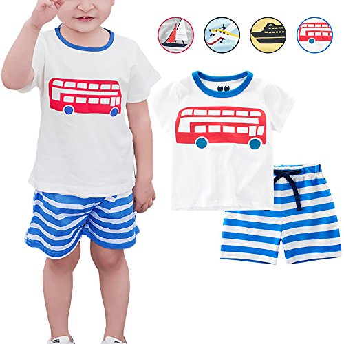 Little Boys 2 Pieces Short Sets 100% Cotton Cute Outfits Summer Pajamas for Toddler Boy (White Tops+Blue Shorts, 4T) by eccbox