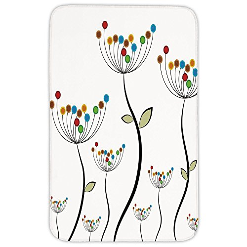Rectangular Area Rug Mat Rug,Garden,Colorful Dandelions Stems Buds Leaves Bedding Plants Wildlife Meadow Cottage Theme,Multicolor,Home Decor Mat with Non Slip Backing by iPrint