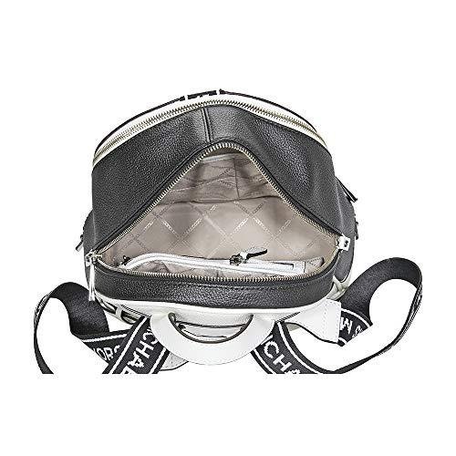 450e07c98739 Michael Kors Rhea Medium Logo Tape Backpack OPTICWHT/BLK by Michael Kors  (Image #
