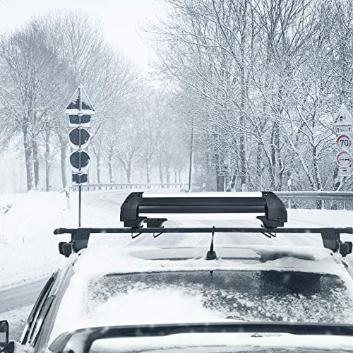 """Goplus 23"""" Aluminum Universal Ski & Snowboard Roof Rack, Ski Board Roof Carrier Car Racks for 4 Pairs Skis/4 Snowboards, Fits for Most Vehicles Equipped Crossbars"""