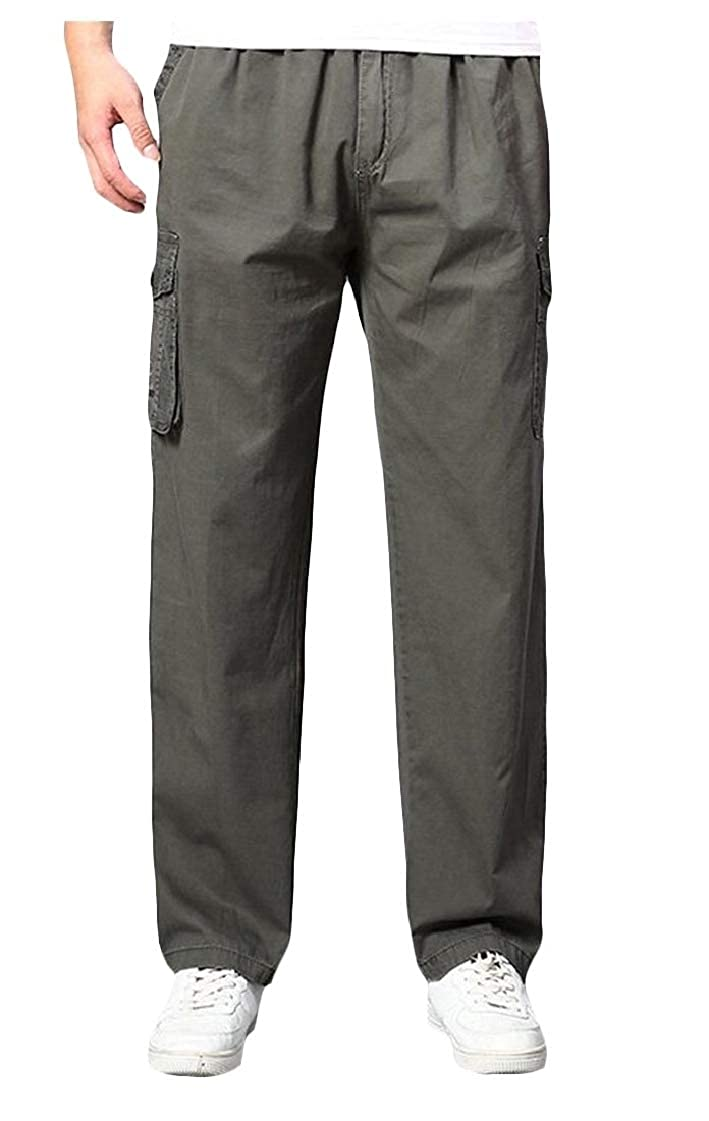 Lutratocro Men Sports Stylish Elastic Waist Cotton Trousers Big and Tall Pants