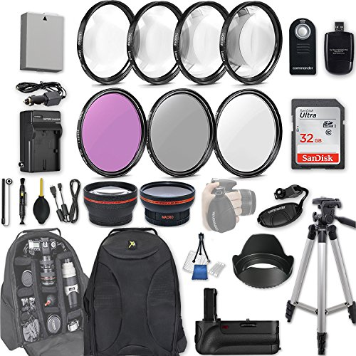 58mm 28 Pc Accessory Kit for Canon EOS Rebel T3i, T5i, 300D, 700D DSLRs with 0.43x Wide Angle Lens, 2.2x Telephoto Lens, Battery Grip, 32GB SD, Filter & Macro Kits, (Canon Eos 300d)