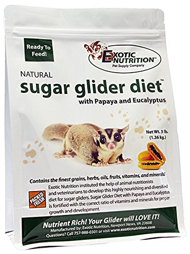 Exotic Nutrition Sugar Glider Diet with Papaya and Eucalyptus (3 lb) - High Protein Complete Sugar Glider Staple Diet