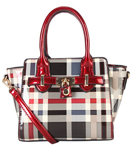 diophy-shiny-patent-pu-leather-classical-plaid-small-top-handle-handbag-accented-with-front-lock-dco